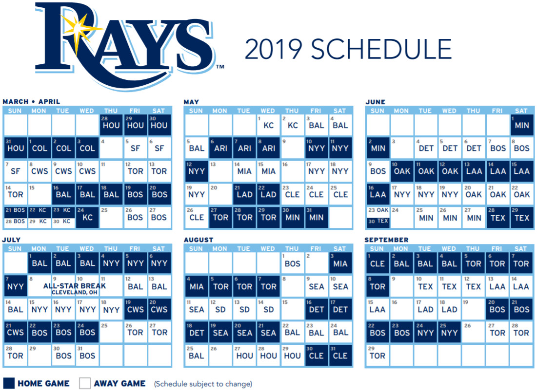 db1d16cb8 Tampa Bay Rays release 2019 schedule - DRaysBay