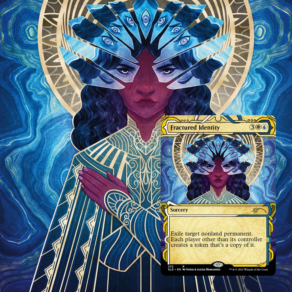 Identificación rota, aparece una mujer con múltiples fragmentos de vidrio idénticos.  En cada uno aparece una expresión diferente de sus ojos y cejas.