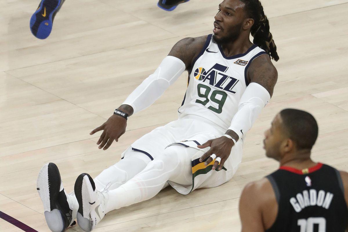 Utah Jazz forward Jae Crowder (99) slides on the ground after making a basket during Game 4 of the NBA Playoffs against Houston at Vivint Smart Home Arena in Salt Lake City on Monday, April 22, 2019.