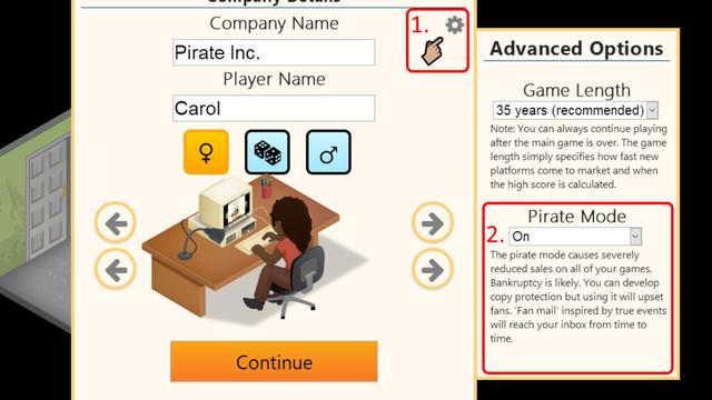 Beginning Pirate Mode in <em>Game Dev Tycoon</em>
