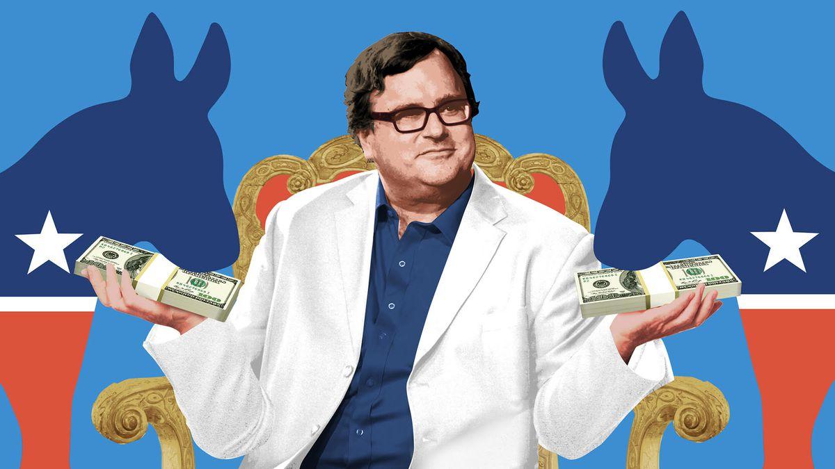 An illustration of Reid Hoffman feeding Democratic donkeys stacks of money.