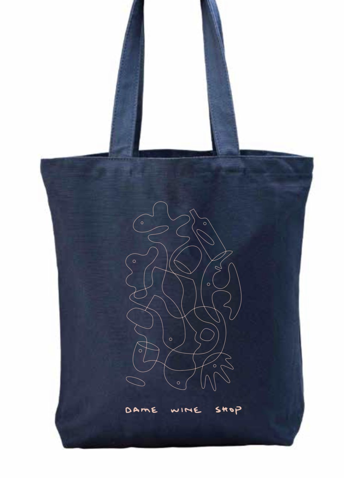 """A squiggly, abstract design appears on a navy blue tote bag with the words """"Dame Wine Shop"""" at the bottom"""