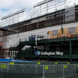 View of the Gallagher Way entrance to the ballpark