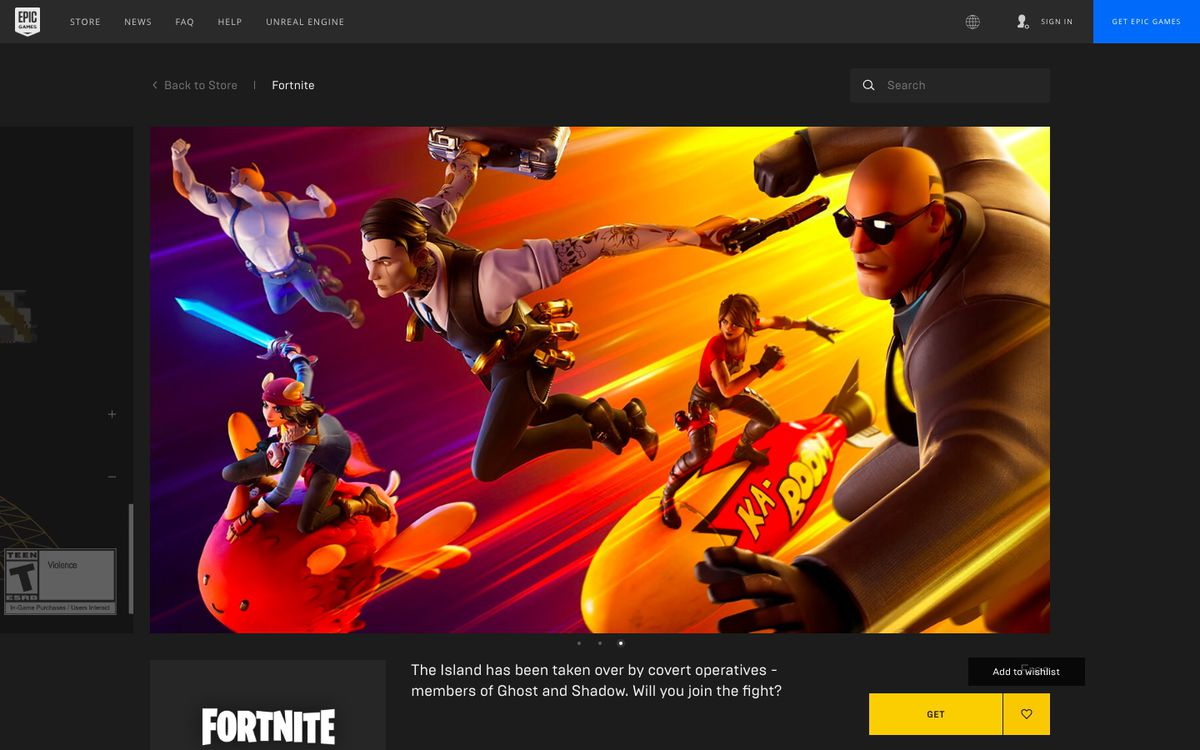 The store page for Fortnite on the Epic Games Store