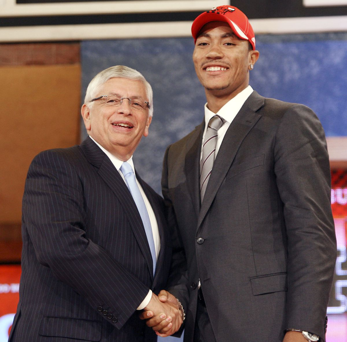 NBA commissioner David Stern, left, poses with number one draft pick Derrick Rose, who was picked by the Chicago Bulls, during the first round of the NBA basketball draft, Thursday, June 26, 2008 in New York. | Seth Wenig/Associated Press