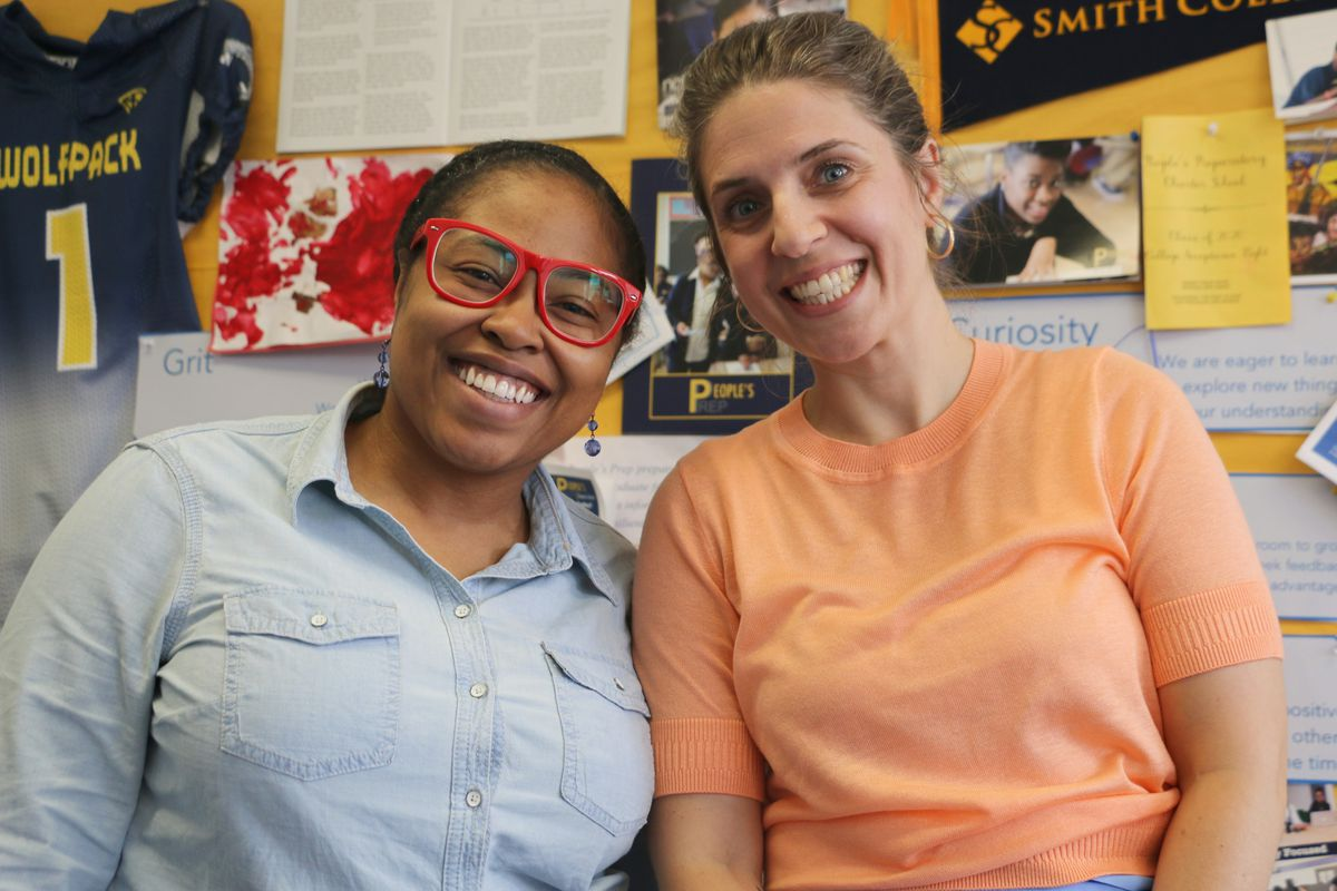 Tahirah Crawford, director of college placement at People's Prep, with Jess Rooney, the school's founder and co-executive director.