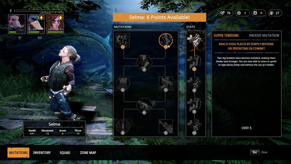 The character inventory screen in Mutant Year Zero: Road to Eden is also where you level up.