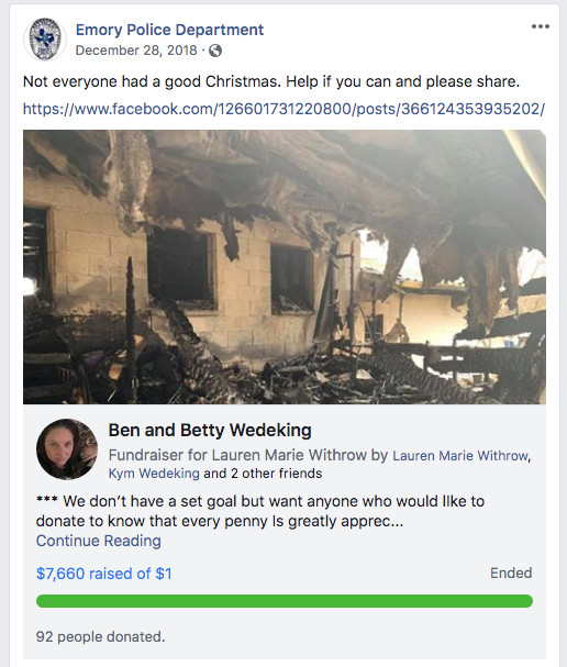 The Emory, Texas, police department advertises a GoFundMe page for Ben and Betty Wedeking, neighbors of the Chronises who lost their home to fire on Christmas Day 2018.