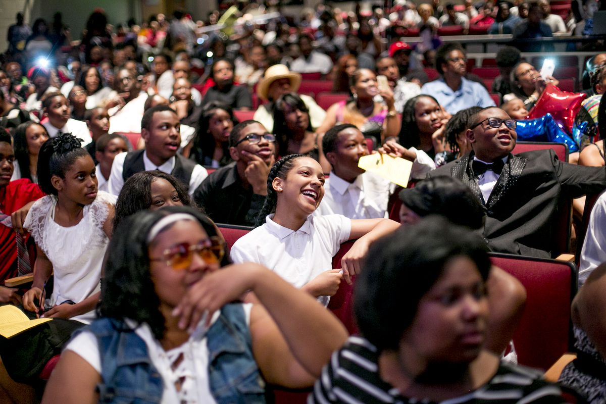 Bethune Elementary-Middle School's eighth-grade graduation took place at the neighborhood high school, Mumford High. About half of the students in homeroom 8B said they planned to attend Mumford High for ninth grade. Others chose charters or suburban schools.