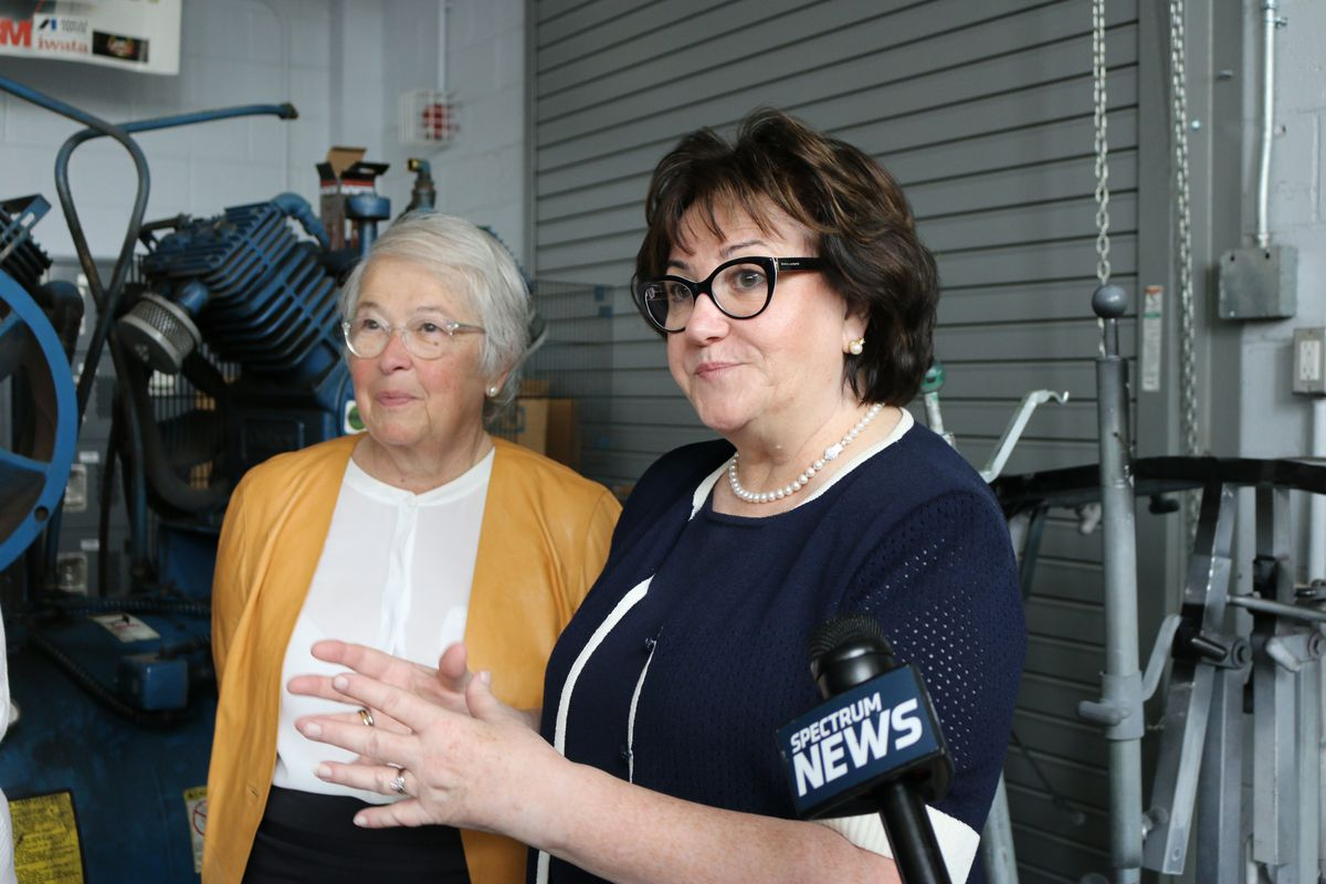 New York City Schools Chancellor Carmen Fariña and State Education Commissioner MaryEllen Elia at Thomas A. Edison Career and Technical Education High School.