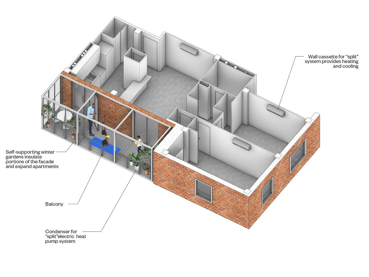A cutaway rendering showing how a balcony could be added to an existing unit