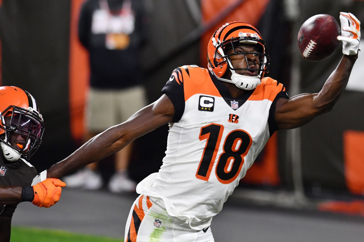 Cincinnati Bengals wide receiver A.J. Green just misses a pass as Cleveland Browns free safety Karl Joseph defends during the second half at FirstEnergy Stadium.