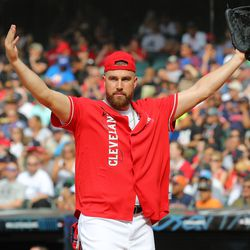 Travis Kelce of the Kansas City Chiefs reacts during the Legends & Celebrity Softball Game at Progressive Field on Sunday, July 7, 2019 in Cleveland, Ohio.