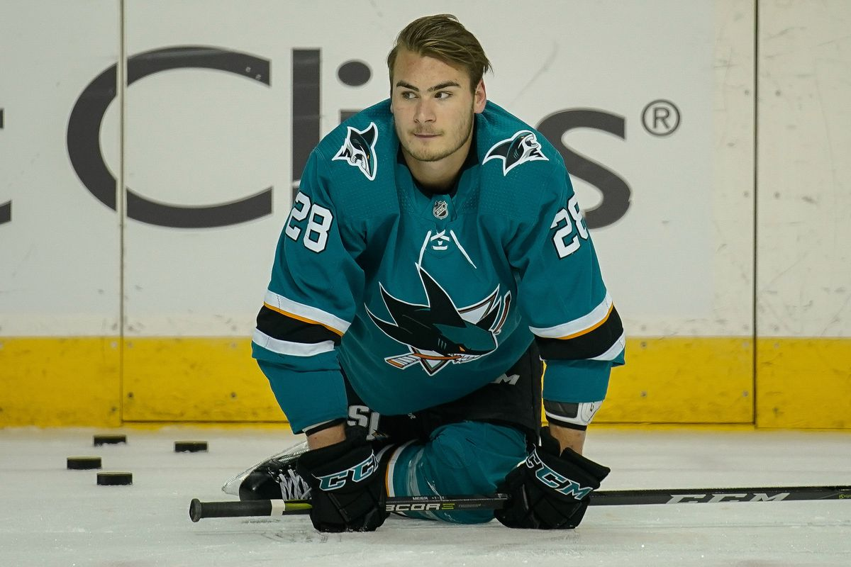 May 6, 2018; San Jose, CA, USA; San Jose Sharks right wing Timo Meier (28) warms up before the game against the Vegas Golden Knights in game six of the second round of the 2018 Stanley Cup Playoffs at SAP Center at San Jose.