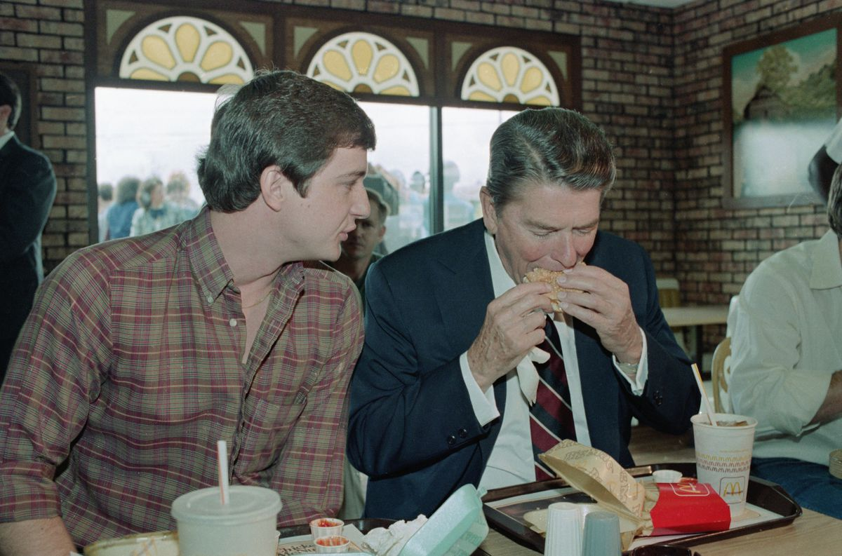 President Reagan enjoys a Big Mac during a campaign stop in Tuscaloosa, Alabama, in 1984 (GettyImages)
