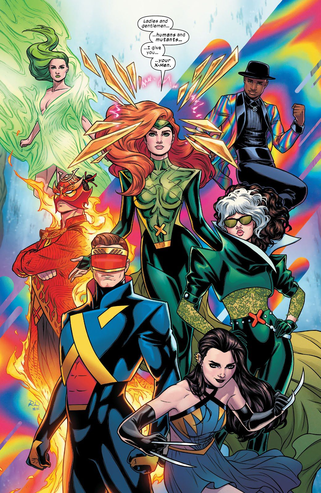 Jean Grey introduces the rest of the X-Men, consisting of Cyclops, Rogue, Laura Kinney/X-23/Wolverine, Sunfire, Polaris, and Synch, in X-Men #21, (2021).