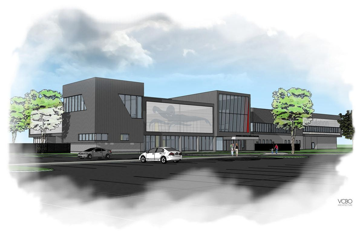 An artist's rendition of the Clyde Recreation Center in Springville. The aquatic's center is expected to be completed at the end of 2017. The facility was renamed after Clyde Companies Inc. donated $2 million to the city.