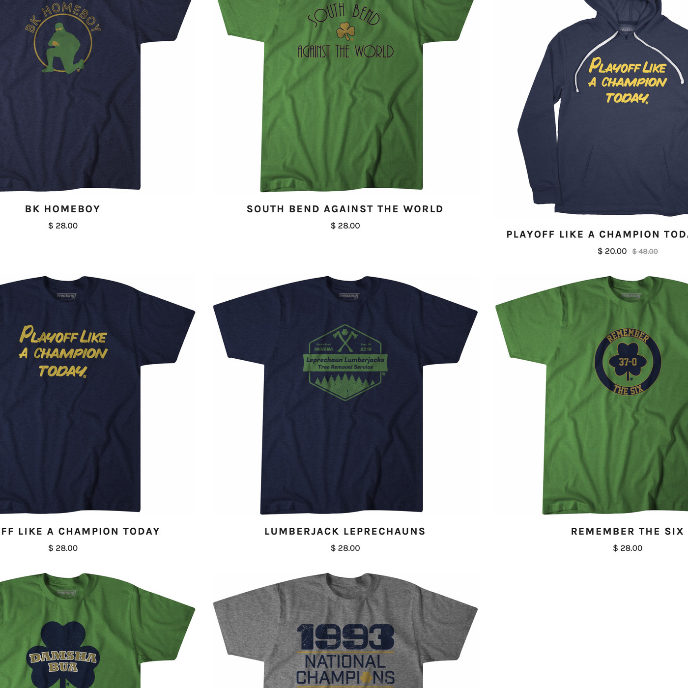 NOTRE DAME FIGHTING IRISH NAVY GOLD SOUTH BEND