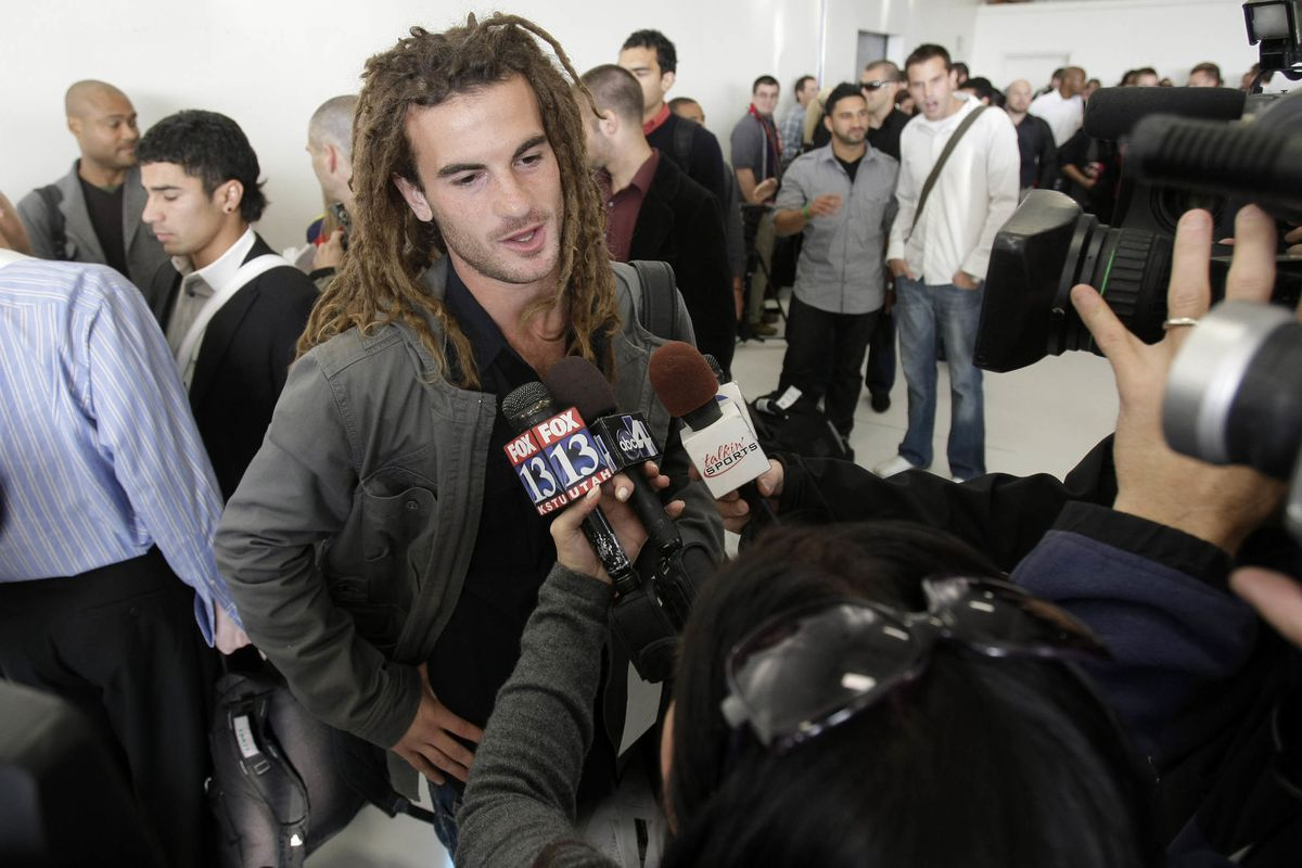 FILE: RSL's Kyle Beckerman talks with the media prior to boarding the plane for their Championship match in Seattle against the LA Galaxy. Thursday, Nov. 19, 2009.