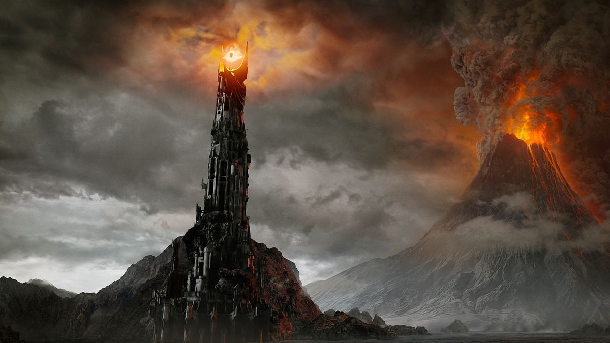 The Eye of Sauron sits in front of Mt. Doom in Lord of the Rings: The Return of the King