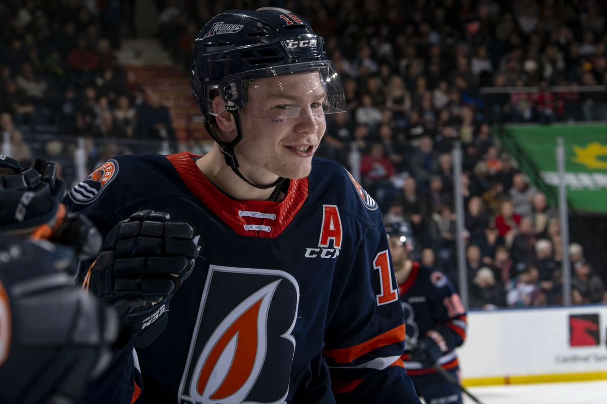 KELOWNA, BC - JANUARY 11: Connor Zary #18 of the Kamloops Blazers celebrates a second period goal against the Kelowna Rockets at Prospera Place on January 11, 2020 in Kelowna, Canada.