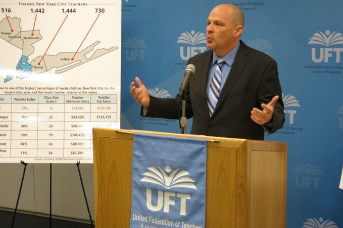 UFT President Michael Mulgrew speaks about teacher attrition patterns earlier this year.