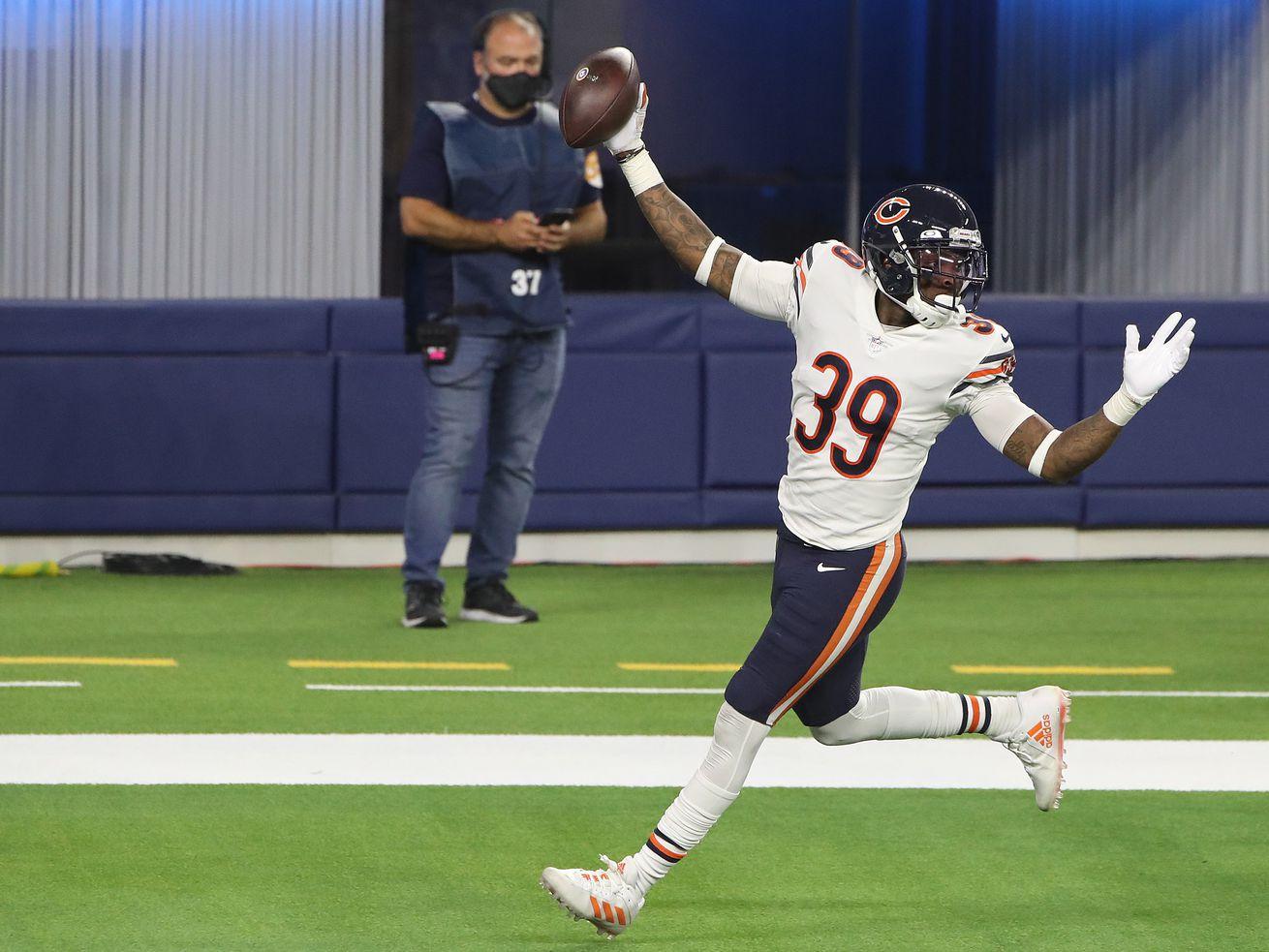 Bears safety Eddie Jackson celebrates his touchdown Monday night in Los Angeles.