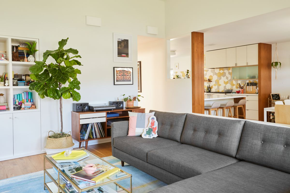 A living room with a gray couch, book shelves, a coffee table, and a planter with a plant. There are books and objects on the shelves and coffee table.