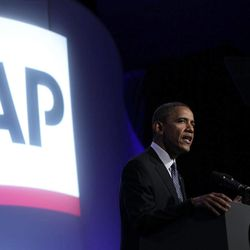 President Barack Obama speaks at The Associated Press luncheon during the ASNE Convention, Tuesday, April 3, 2012, in Washington.