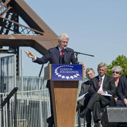 Former President Bill Clinton gives an address dedicating a new pedestrian bridge located next to his presidential library in Little Rock, Ark. Friday Sept. 30, 2011.