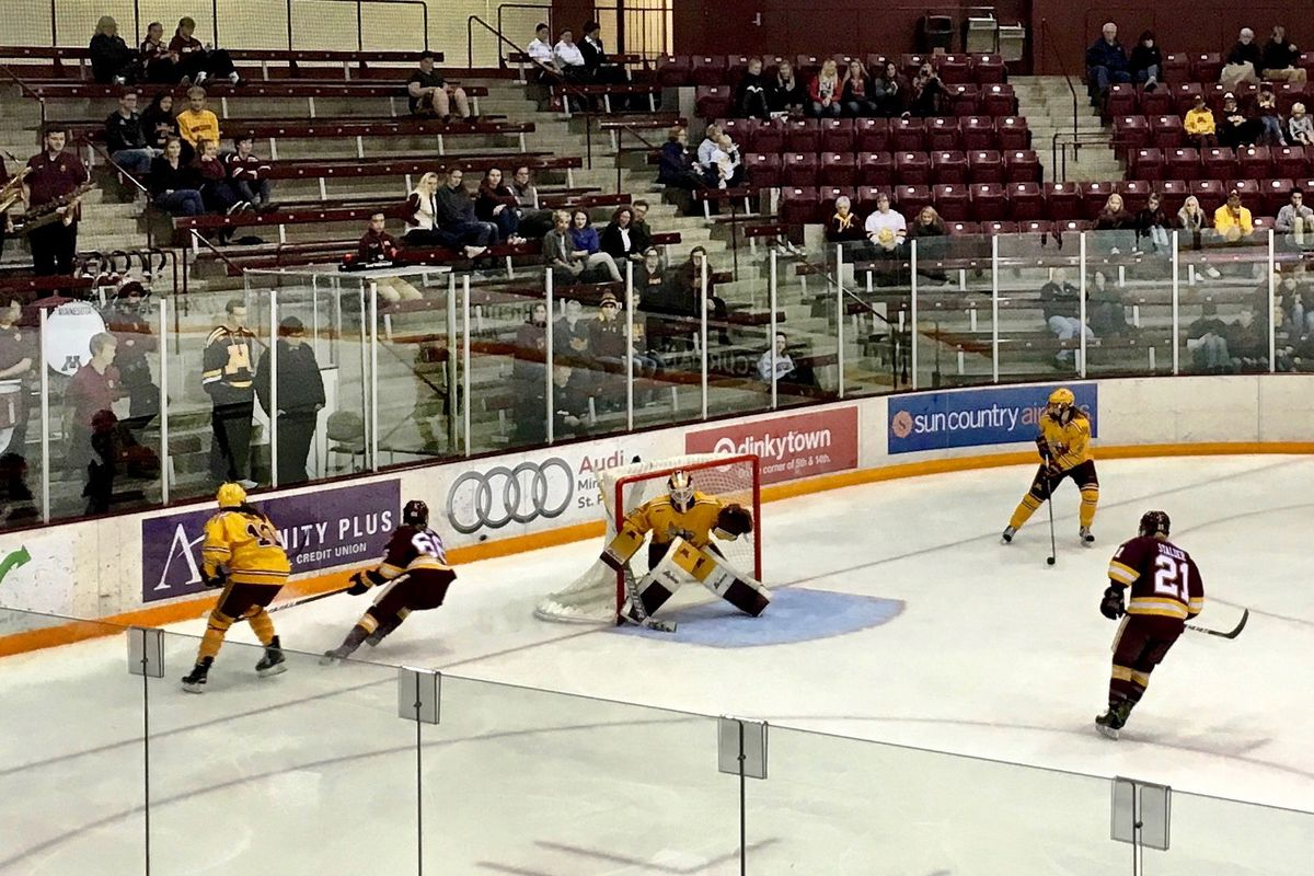 Duluth Bulldogs playing the Minnesota Gophers at Ridder Arena with Sidney Peters in net.