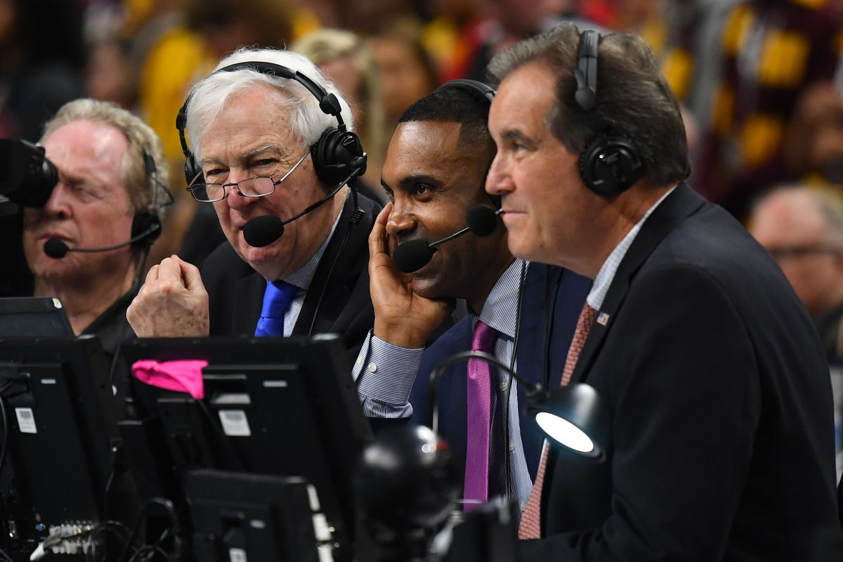 TBS broadcasters Bill Raftery, Grant Hill and Jim Nantz call the game between the Michigan Wolverines and the Loyola Ramblers in the semifinals of the 2018 men's Final Four at Alamodome.
