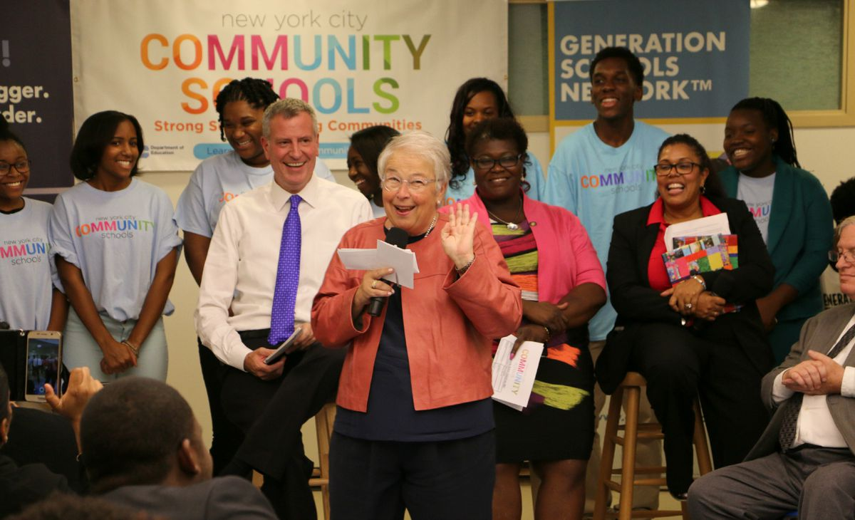 """Chancellor Carmen Fariña acknowledged that schools in the """"Renewal"""" turnaround program face challenges, but said that Brooklyn Generation has something """"very special."""""""