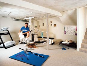 <p>Exercise is the theme of this partial basement renovation in a Boston-area<br> home. Carpeting is an inexpensive but effective covering for steel columns.</p>