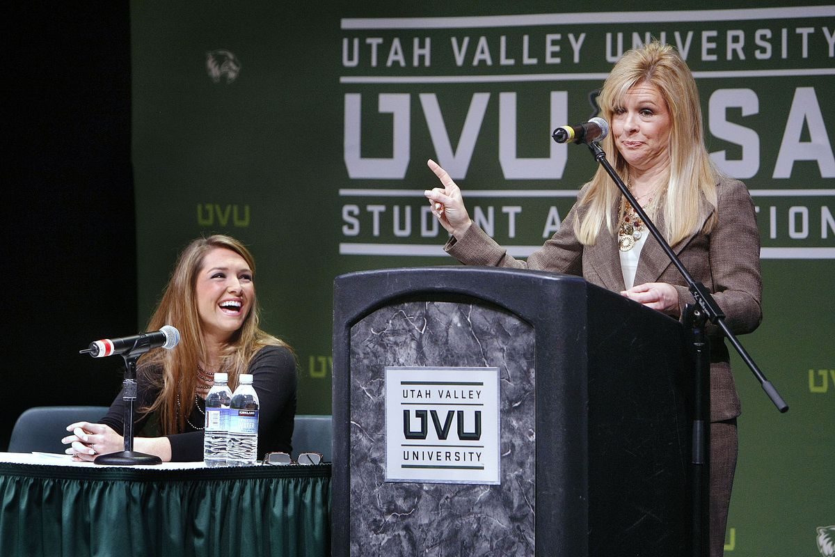 """Leigh Anne Touhy, right, and her daughter Collins Touhy speak at Utah Valley University. They are the mother and sister of NFL football star Michael Oher. The movie """"The Blind Side"""" is the story about Oher and the Touhy family that adopted him. Tuesday, Feb. 2, 2010 Photo by Stuart Johnson"""