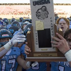 Sky View football holds off Pine View and claims the 4A state championship with a 39-33 victory on Saturday, Nov. 21, 2020.