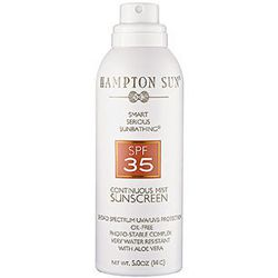 """The newest addition to my sunscreen collection is <strong>Hampton Sun</strong>'s <a href=""""http://www.hamptonsuncare.com/spf-35-continuous-mist/"""">SPF 35 Continuous Mist Sunscreen</a>. The lovely fragrance gives it a <strong>luxe feel</strong>, perfect for"""