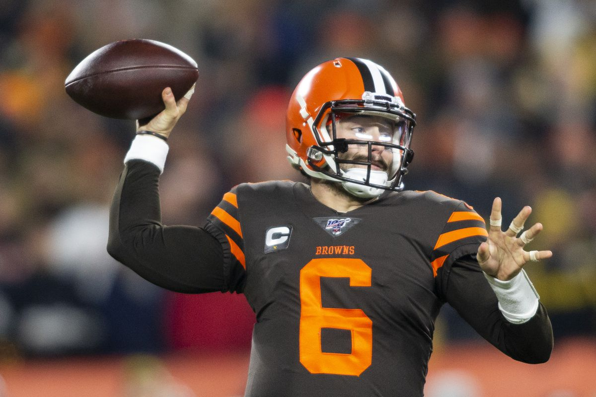 Cleveland Browns quarterback Baker Mayfield throws the ball against the Pittsburgh Steelers during the first quarter at FirstEnergy Stadium.