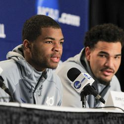 Kentucky's Aaron Harrison, left, and Willie Cauley-Stein speak during a press conference at the NCAA college basketball tournament in Louisville, Ky., Friday, March 20, 2015. Kentucky plays Cincinnati in the Round of 32 on Saturday. Harrison worked out for the Jazz on Friday.