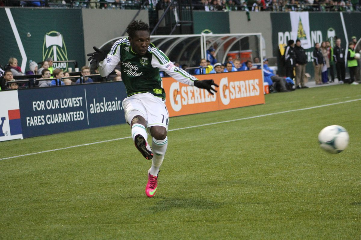 Kalif Alhassan crosses the ball into the box in the Portland Timbers preseason match against the San Jose Earthquakes. 2/17/13