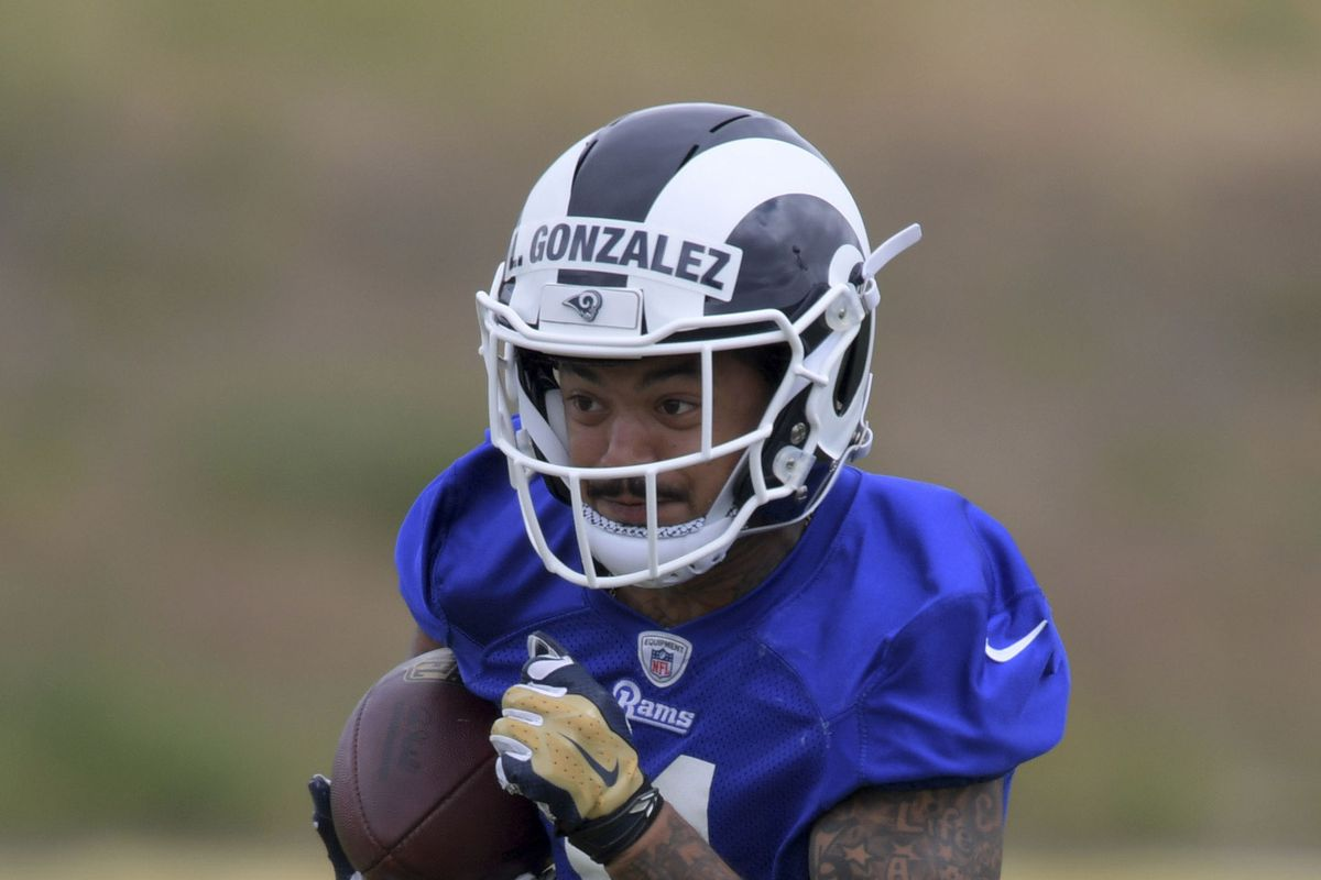 Los Angeles Rams UDFA rookie WR LaQuvionte Gonzalez during organized team activities, May 21, 2018.