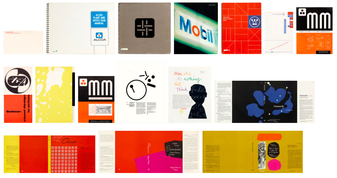 Multiple pages from a book that displays typography, signs, and silhouettes.