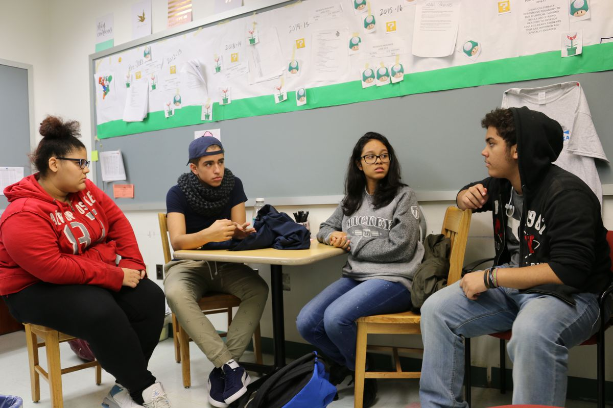 East Bronx Academy for the Future students Carla Borbon, Justin Vargas, Jayla Cordero, and Hugo Rodriguez talk about the election. (Alex Zimmerman)