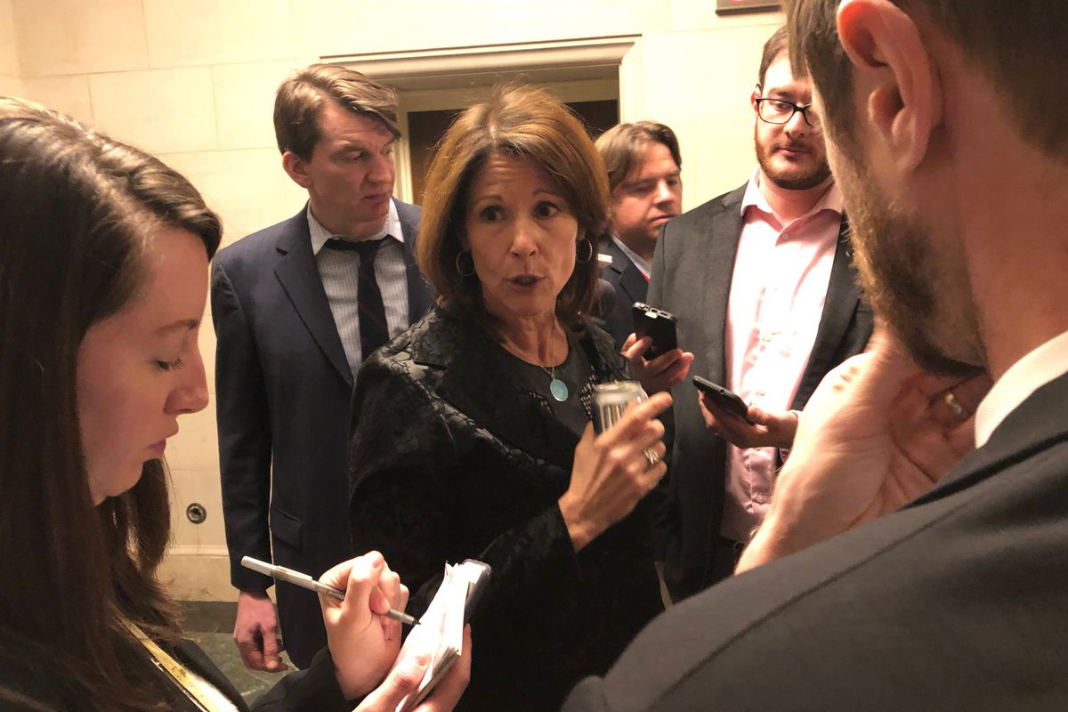 Rep. Cheri Bustos, D-Ill., who is running for DCCC chair, talks to reporters Tuesday, Nov. 27, 2018.