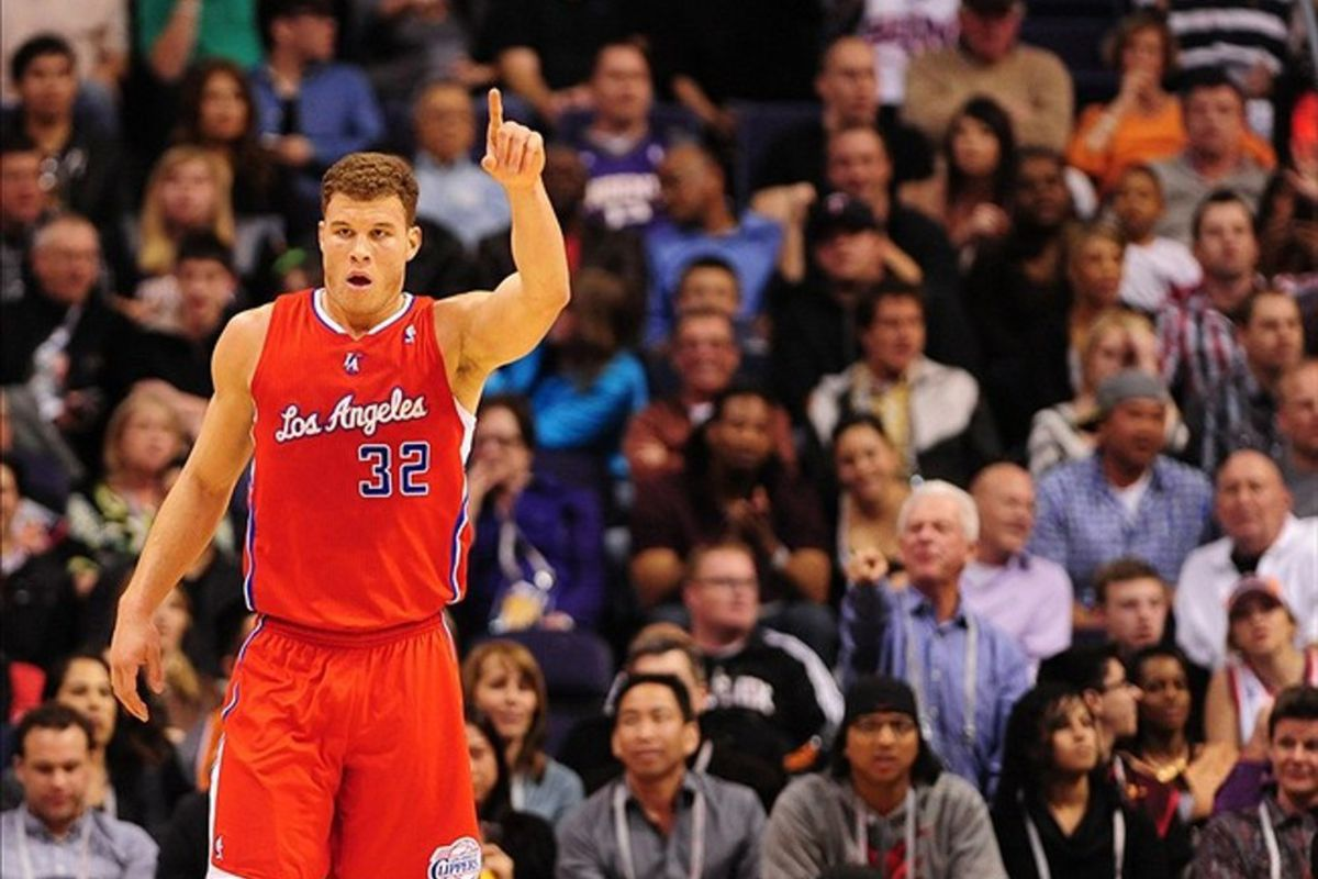 Mar. 2, 2012; Phoenix, AZ, USA; Los Angeles Clippers forward Blake Griffin reacts in the first half against the Phoenix Suns at the US Airways Center. Mandatory Credit: Mark J. Rebilas-US PRESSWIRE