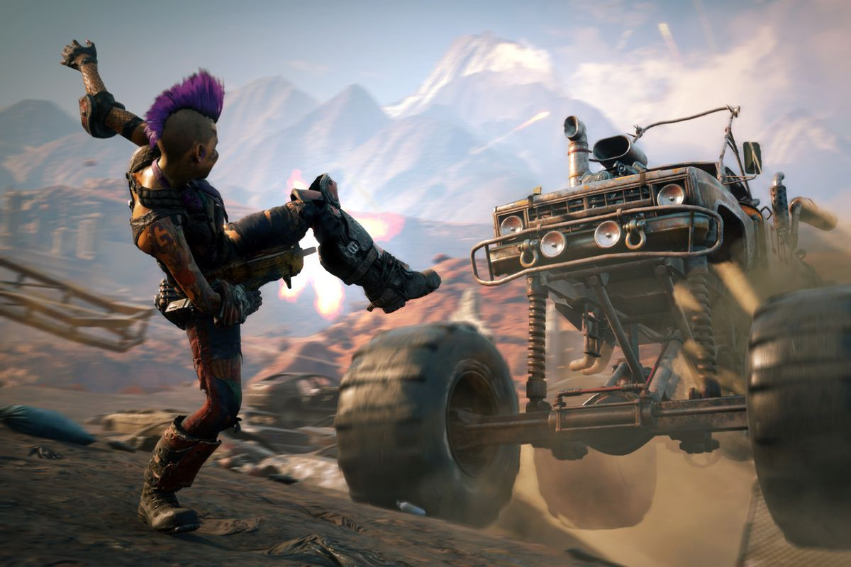 A purple mohawked character faces a monster truck in the wasteland of Rage 2.