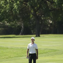 Mike Weir walks up the fairway during second-round play of the Utah Championship at Oakridge Country Club in Farmington on Friday, June 26, 2020.