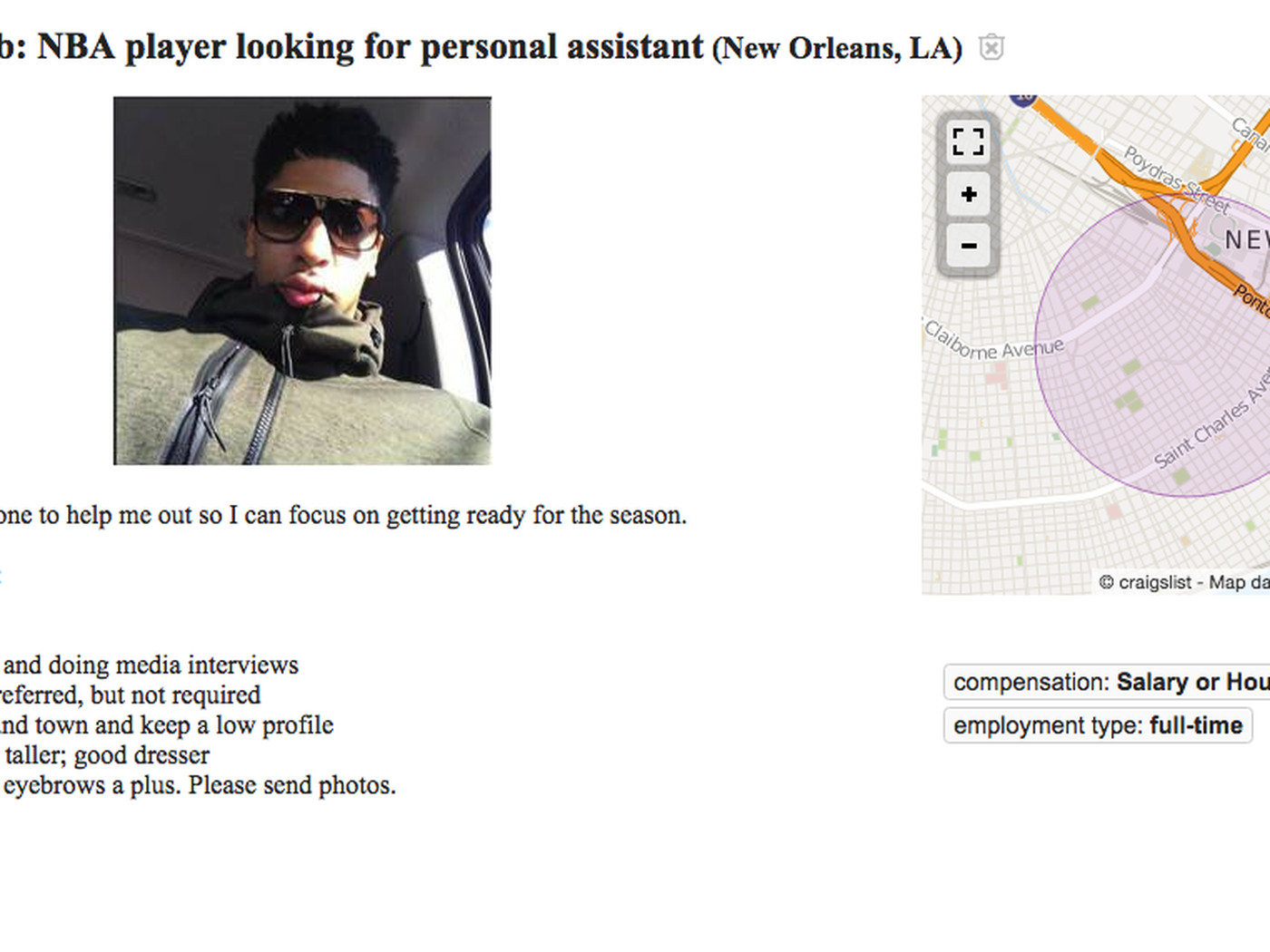 Anthony Davis posted a Craigslist ad for a personal