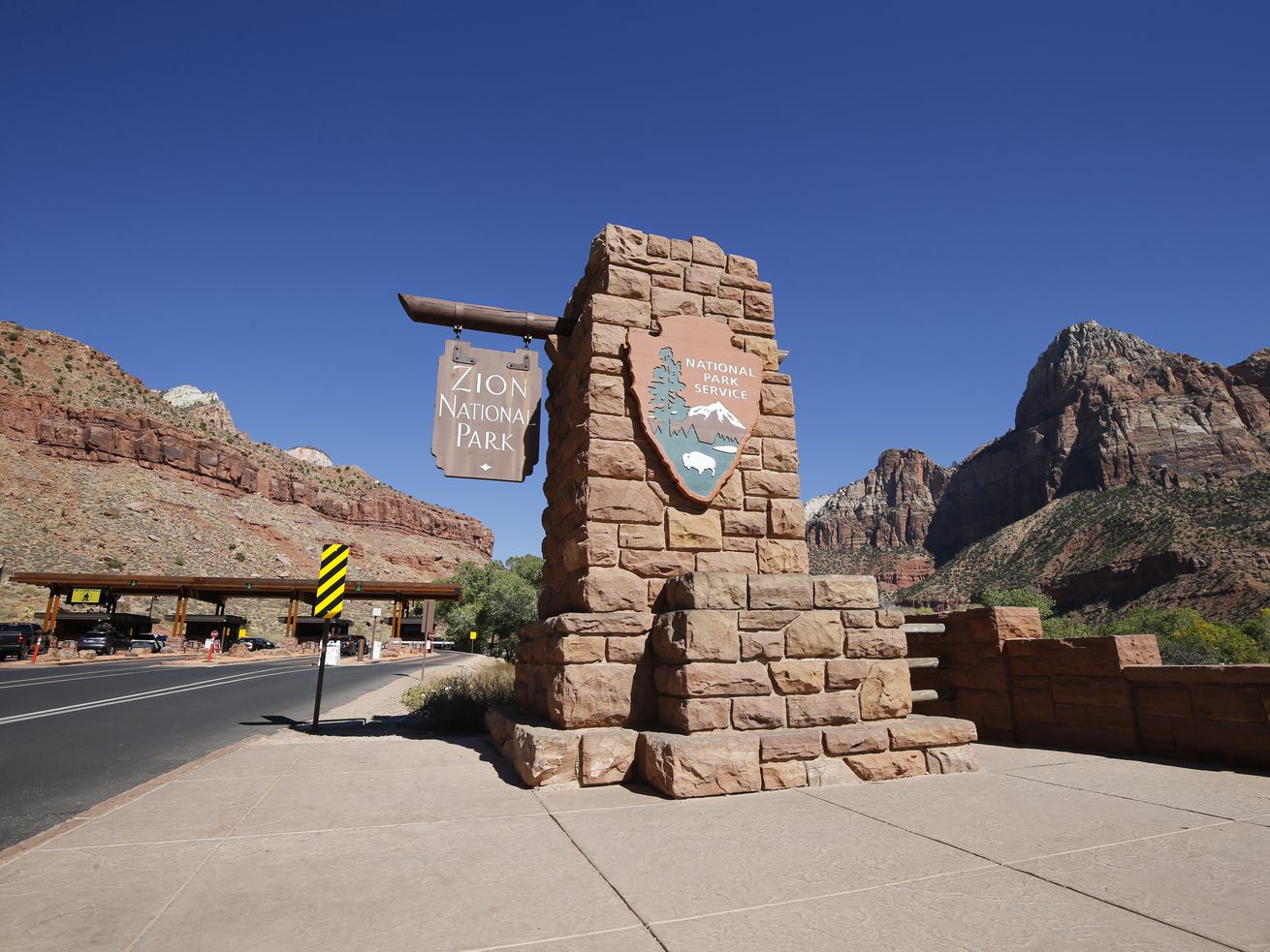 An entrance to Zion National Park is pictured on Wednesday, Oct. 14, 2020.