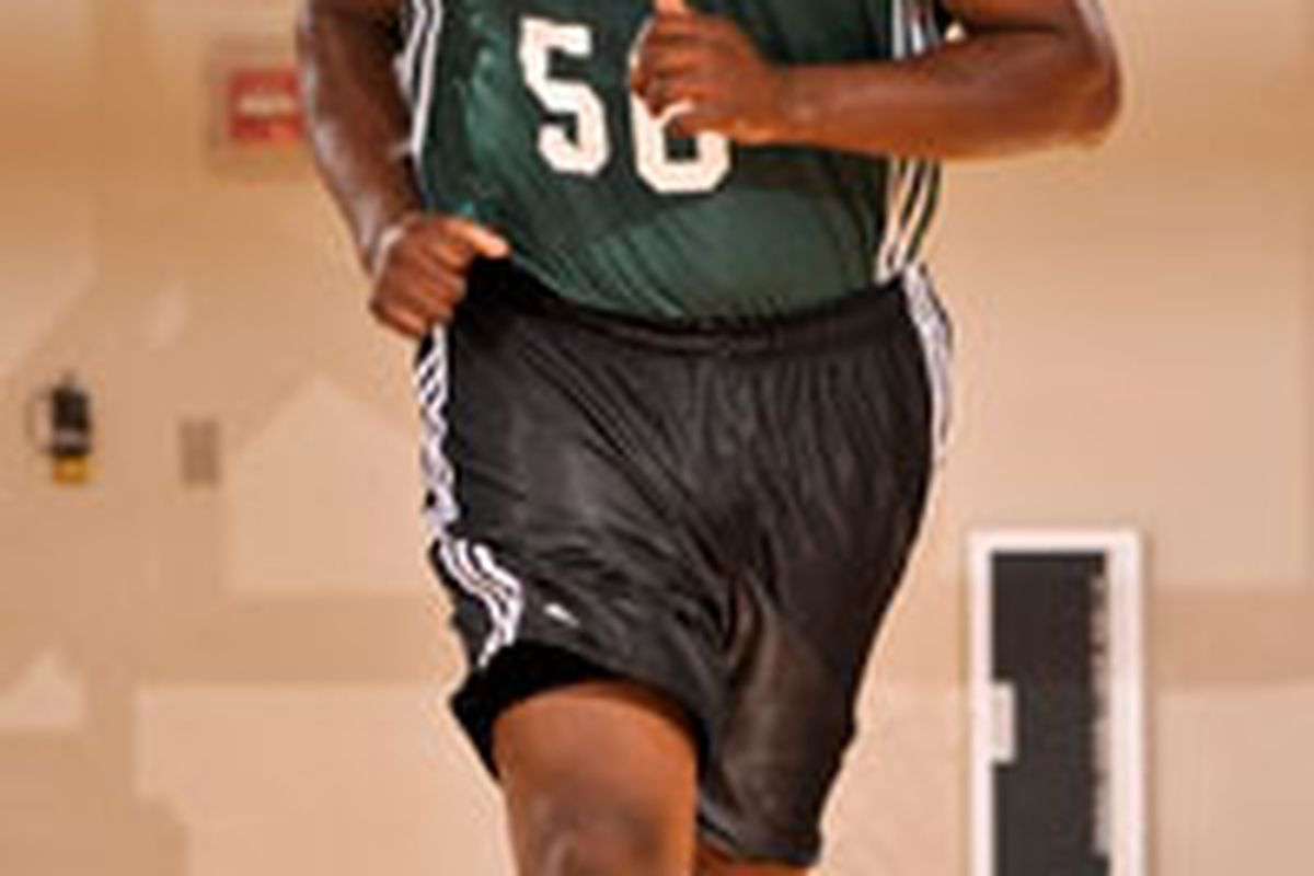 """This isn't a photo, it's actual video of <a href=""""http://www.slamonline.com/online/wp-content/uploads/2009/07/michael_sweetney_celtics.jpg"""">Michael Sweetney</a> running up the court."""